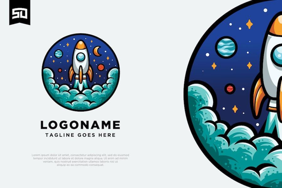 Astronaut Rocket Logo Design
