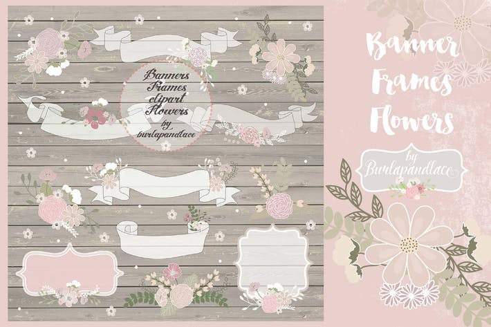 Thumbnail for Banner, Frame, Flower clip art rustic