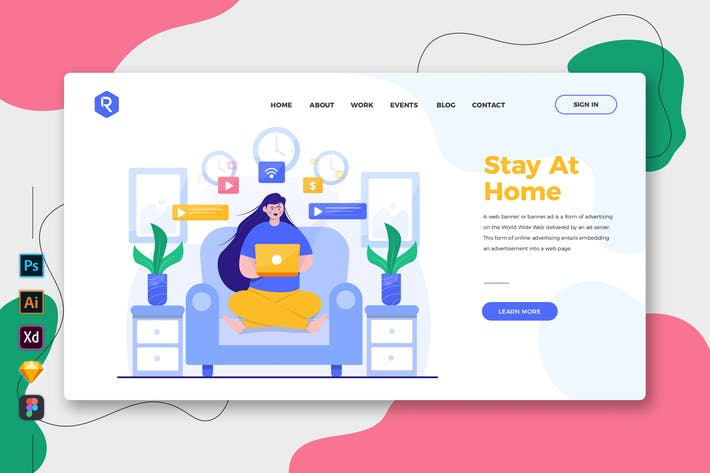 Thumbnail for Stay At Home - Web & Mobile Landing Page