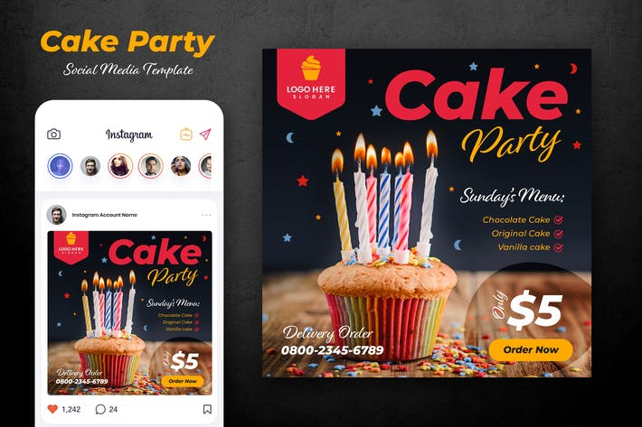 Backery and Cupcake Social Media Template