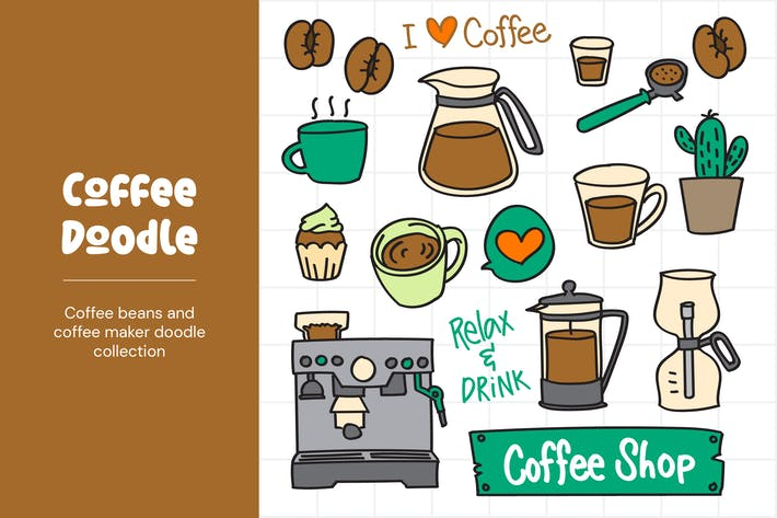 Thumbnail for Coffee and Coffee Maker Doodles