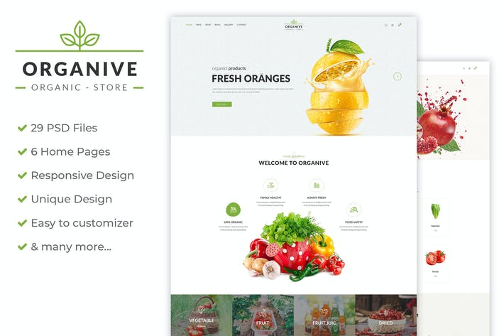 Thumbnail for Organive - Organic Store & Eco Food PSD Template