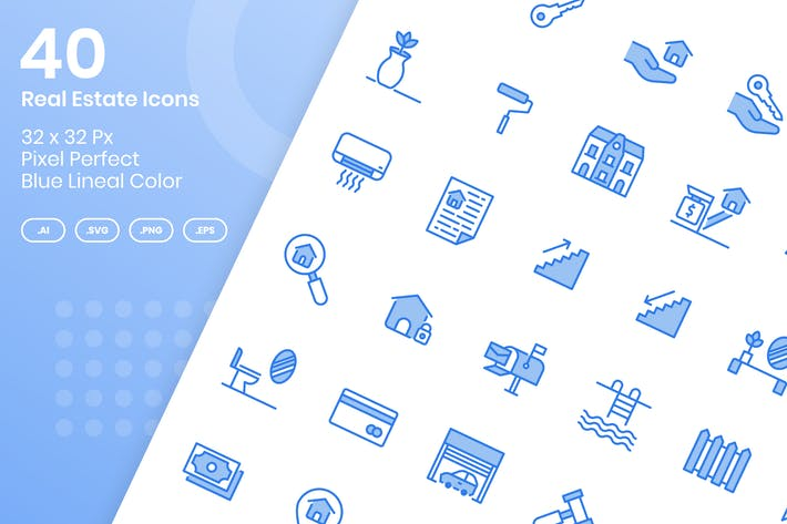 Thumbnail for 40 Real Estate Icons set - Blue Lineal Color