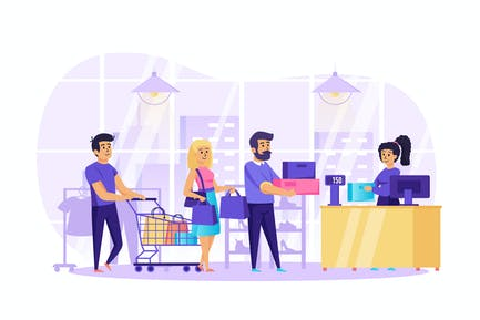 People Shopping in Store Scene
