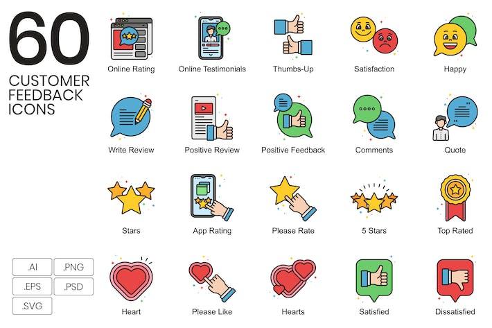 Thumbnail for 60 Kunden-Feedback-Icons | Vivid Series