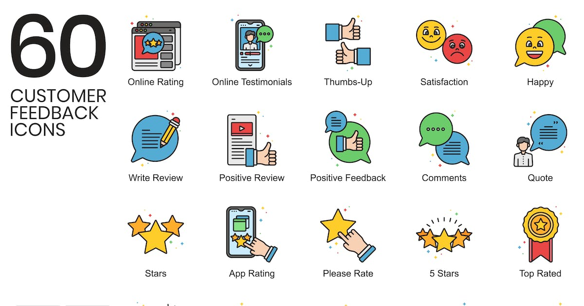 Download 60 Customer Feedback Icons   Vivid Series by Krafted