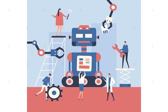 Einen Roboter machen - flache Design-Stil Illustration