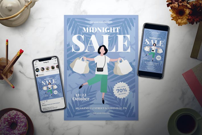 Thumbnail for Midnight Sale Flyer Set