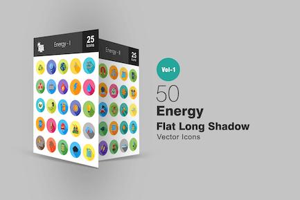 50 Energy Flat Long Shadow Icons