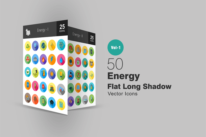 Thumbnail for 50 Energy Flat Long Shadow Icons