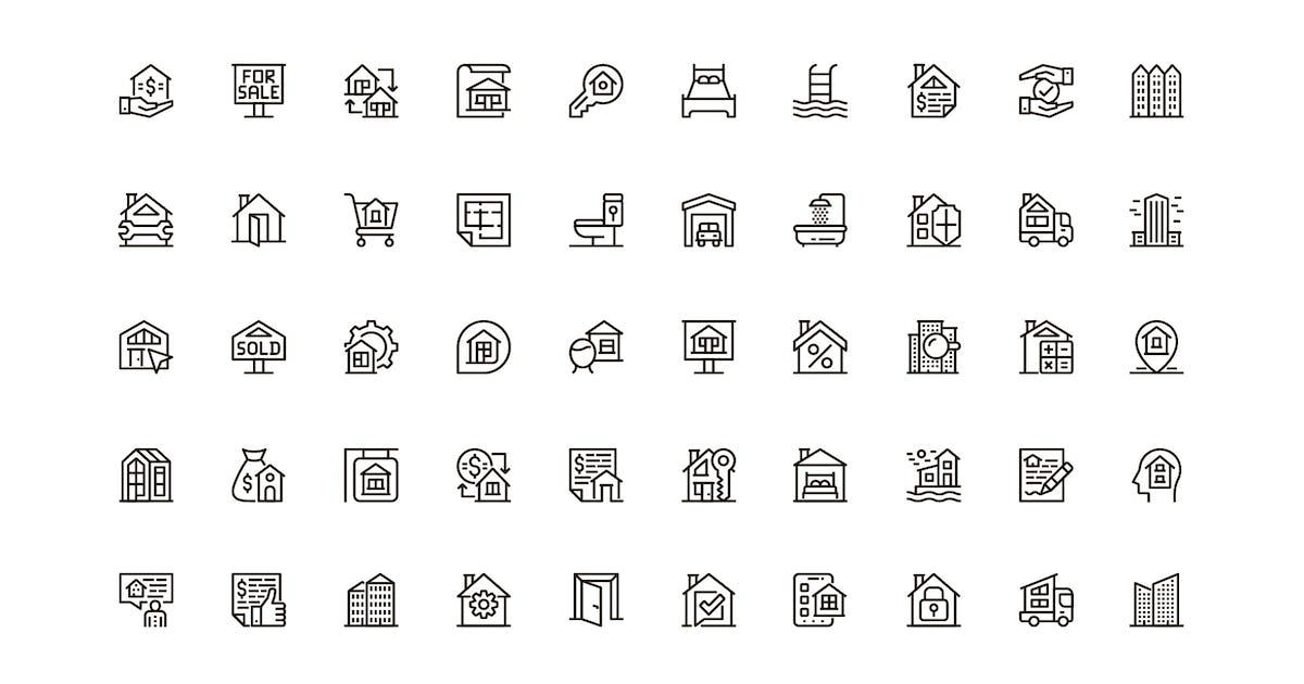 Download Real Estate Unique Web Line Icons Pack by alexdndz