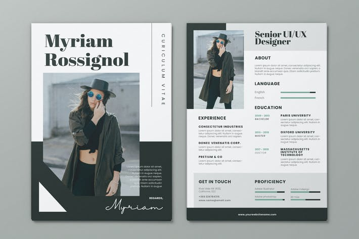 Thumbnail for Clean Minimalist CV Resume AI and PSD Flyer Vol.35