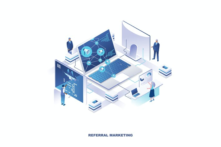 Referral Marketing Isometric Banner Flat Concept