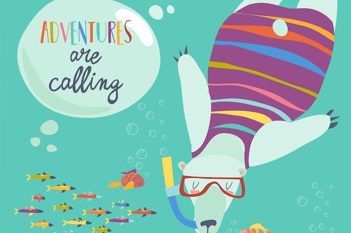Thumbnail for Netter Eisbär schnorcheln und Blick auf die Fische