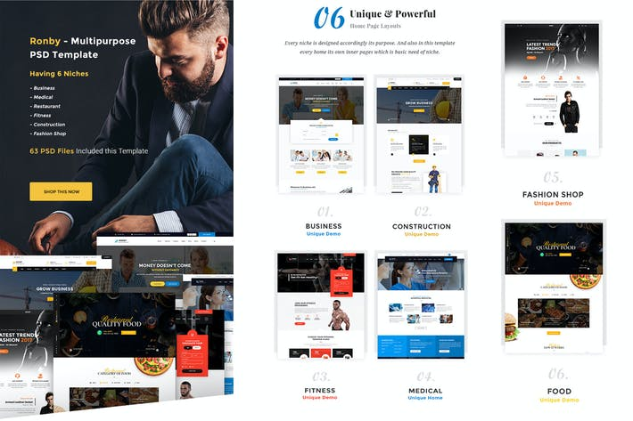 Thumbnail for Ronby - 6 Niche Multi-Purpose HTML5 Bootstrap 3 Te