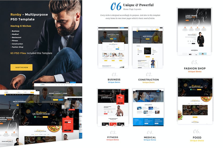 Download Ronby - 6 Niche Multi-Purpose HTML5 Bootstrap 3 Te by Theme-Squared