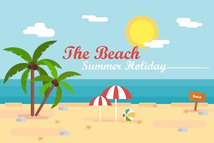 The Beach Summer - Fondo de ilustración