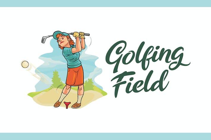 Thumbnail for Cartoon Golfing Lady Mascot Logo
