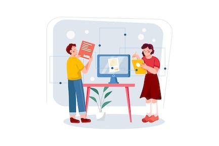 Digital Signature Illustration Concept