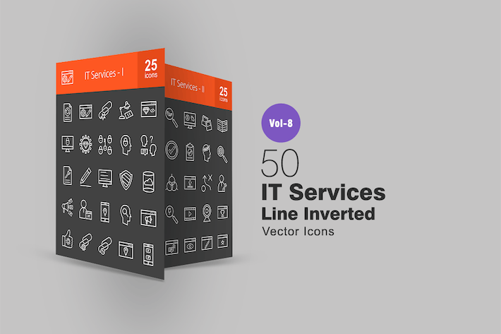Thumbnail for 50 IT Services Line Inverted Icons
