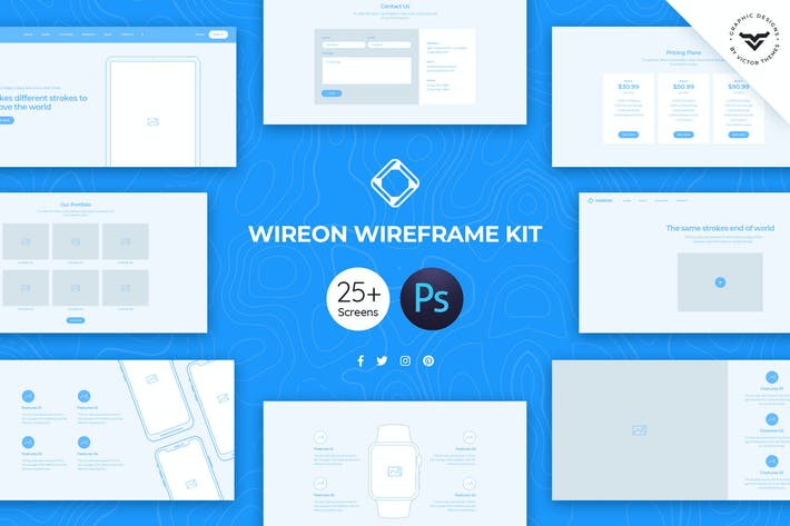 Thumbnail for Wireon Web Wireframe Kit