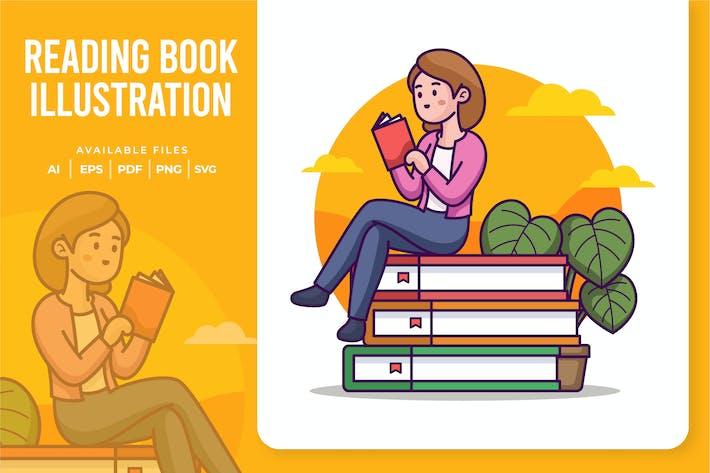 Ilustración de libros de lectura