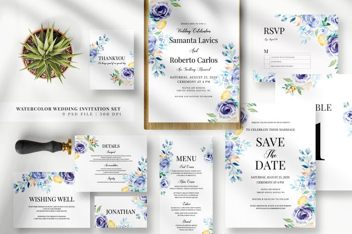 Thumbnail for Watercolor Wedding Invitation Set EZ
