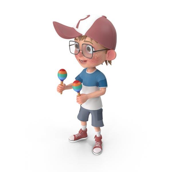 Cartoon Boy Harry Playing Maracas