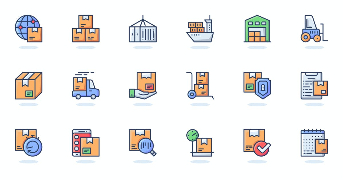 Download Delivery Services Flat Line Web Icons Set by alexdndz