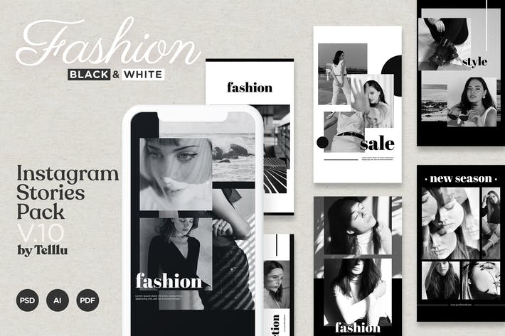 Thumbnail for Instagram Story Template v10 Fashion Black and Whi
