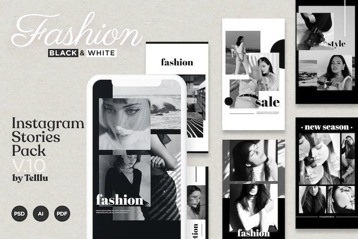 Thumbnail for Instagram История Шаблон v10 Мода Черный и Whi
