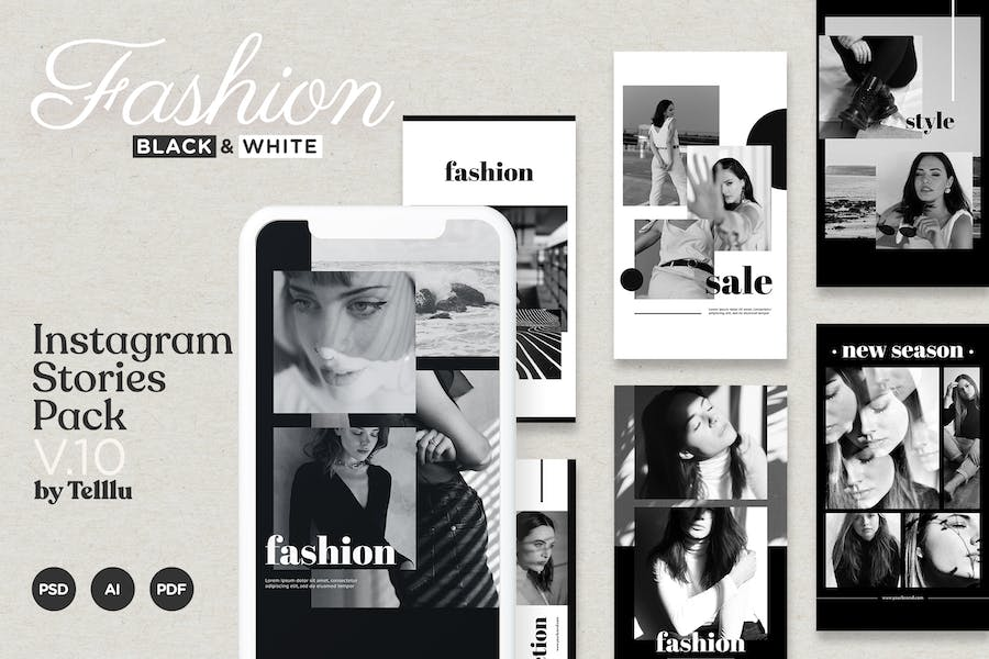 Instagram Story Template v10 Fashion Black and Whi