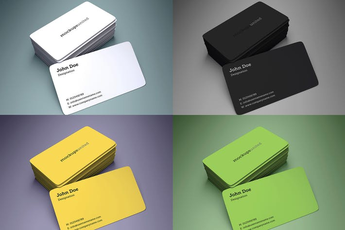 Thumbnail for Rounded Corner Business Card Mockup