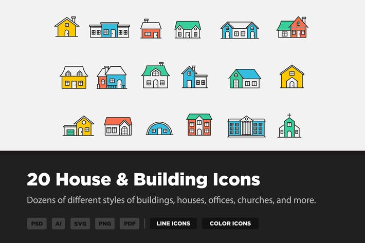 Thumbnail for 20 House & Building Icons