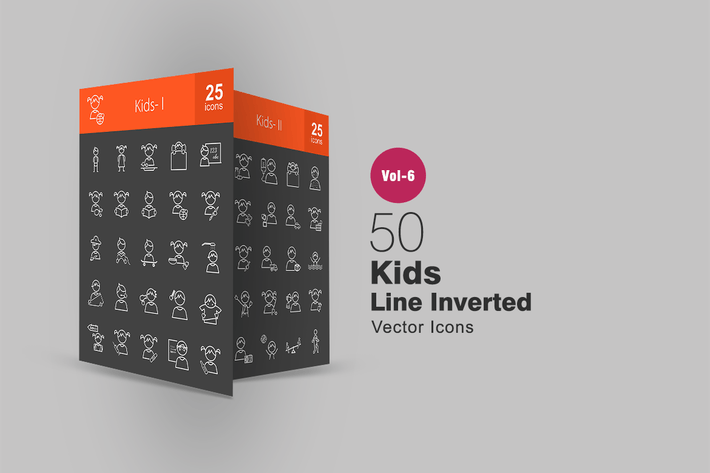 Thumbnail for 50 Kids Line Inverted Icons