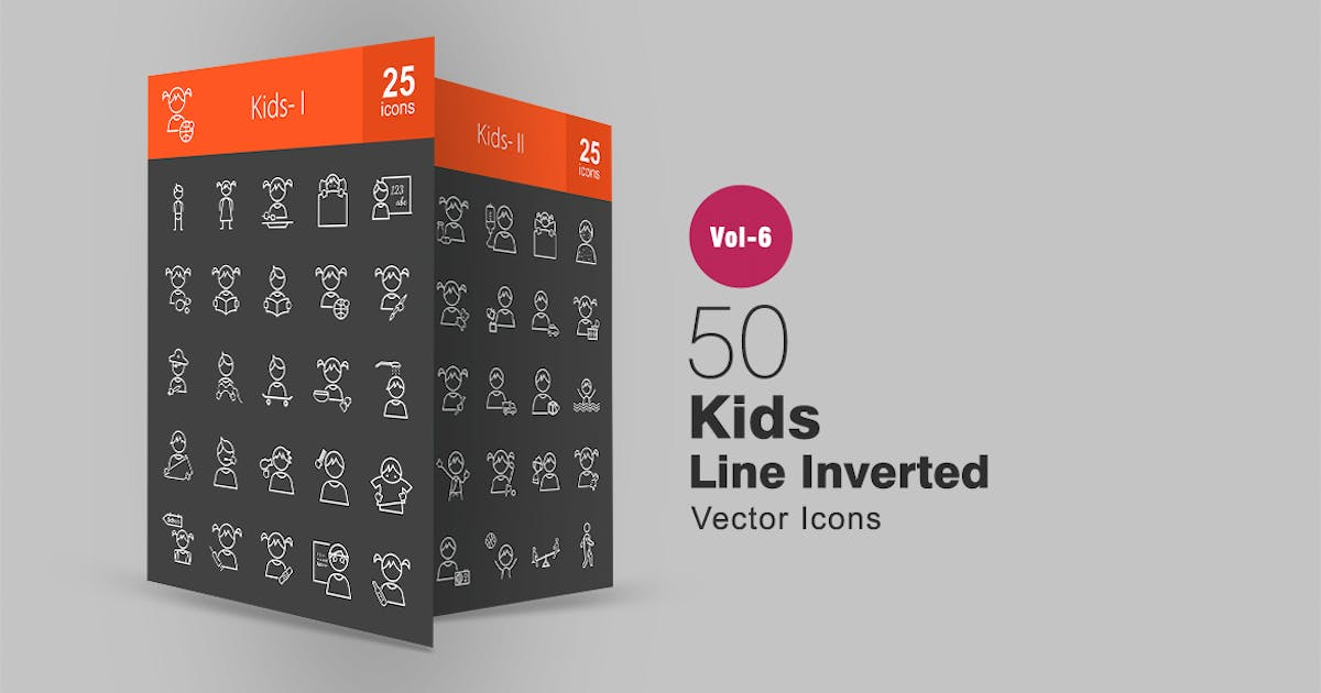 Download 50 Kids Line Inverted Icons by IconBunny