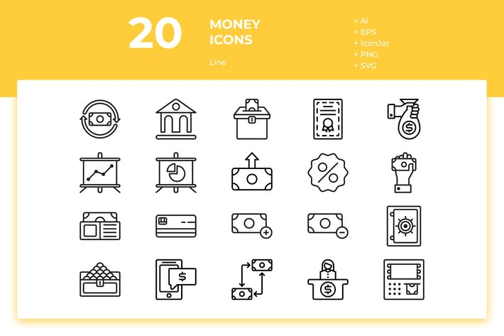 Thumbnail for 20 Money Icons (Line)