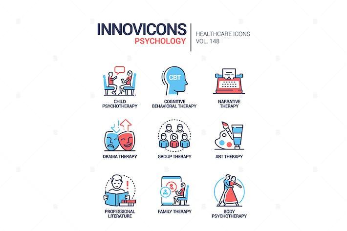 Psychologie-Konzept - Linie Design Stil Icons gesetzt