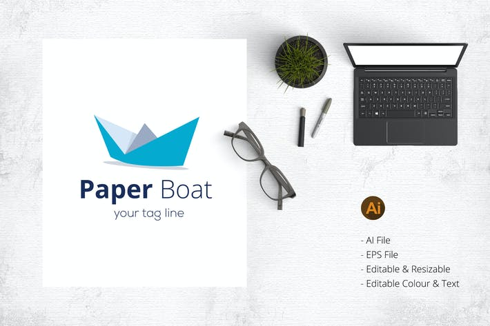 Thumbnail for Paper Boat Business Logo Template