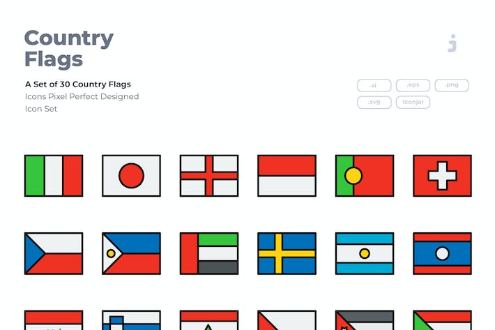 Thumbnail for 40 Country Flag Icons - Detailed Line Icon