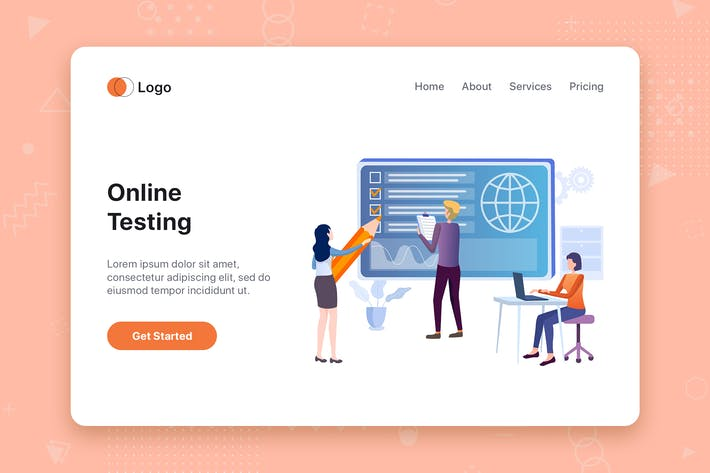 Online Testing flat concept for Landing page