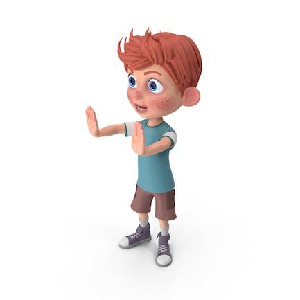 Cartoon Junge Charlie Anhalten