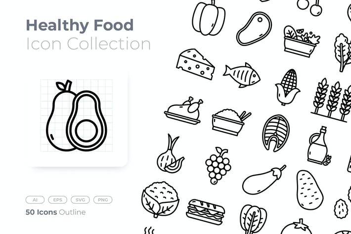 Thumbnail for Healthy Food Outline Icon