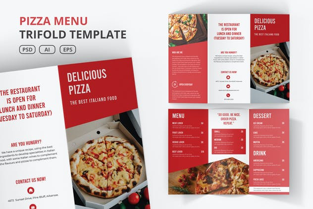 Pizza Menu Trifold Template - product preview 0