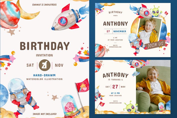 Thumbnail for Outer space theme birthday invitation card