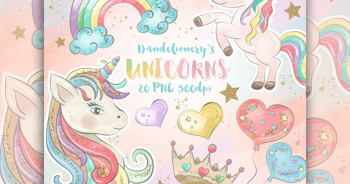 Download Watercolor Unicorns II. Clipart by designloverstudio