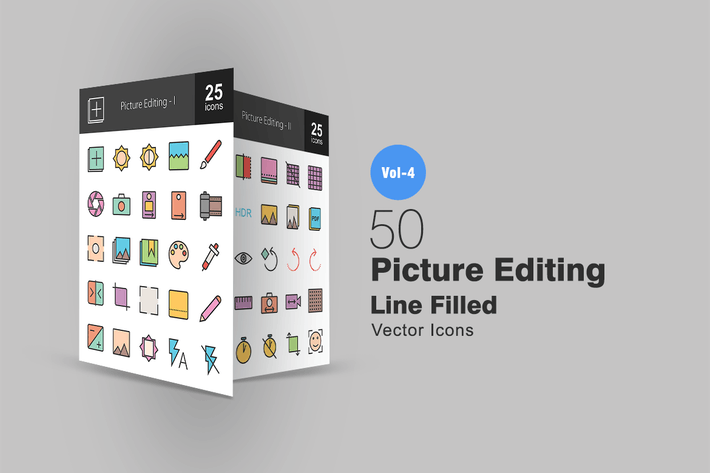 Thumbnail for 50 Picture Editing Line Filled Icons