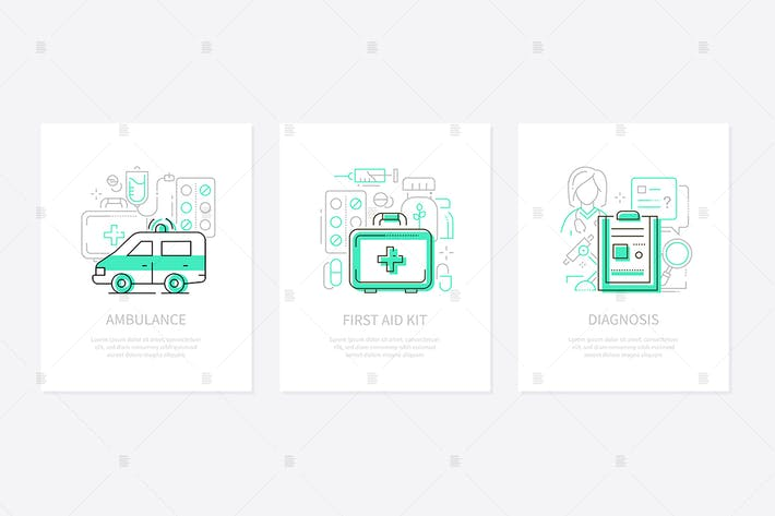 Thumbnail for Medicine and healthcare line design style banners