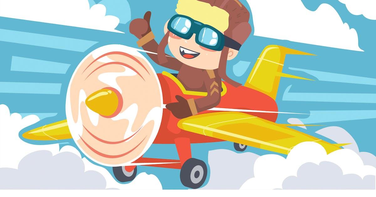 Download Monkey Airplane Kids Illustration by Slidehack