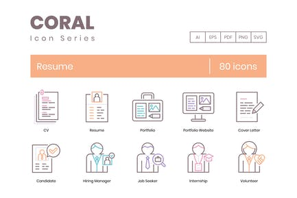 80 Resume Line Icons